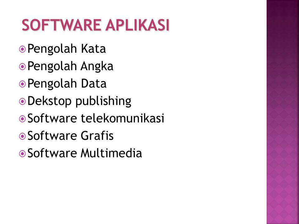  Pengolah Kata  Pengolah Angka  Pengolah Data  Dekstop publishing  Software telekomunikasi  Software Grafis  Software Multimedia SOFTWARE APLIK