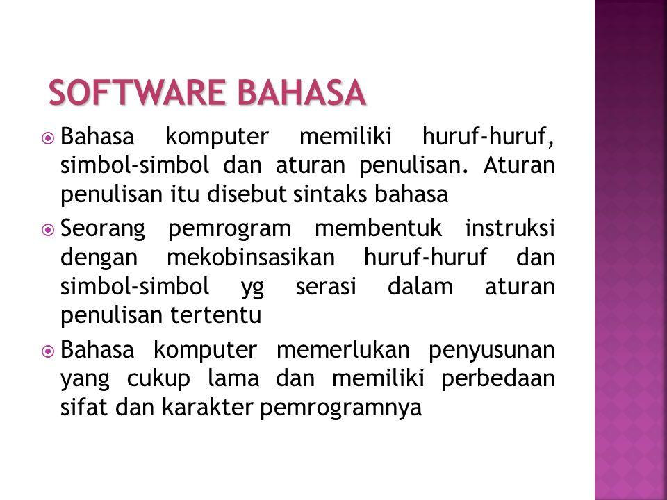 Bahasa komputer memiliki huruf-huruf, simbol-simbol dan aturan penulisan. Aturan penulisan itu disebut sintaks bahasa  Seorang pemrogram membentuk