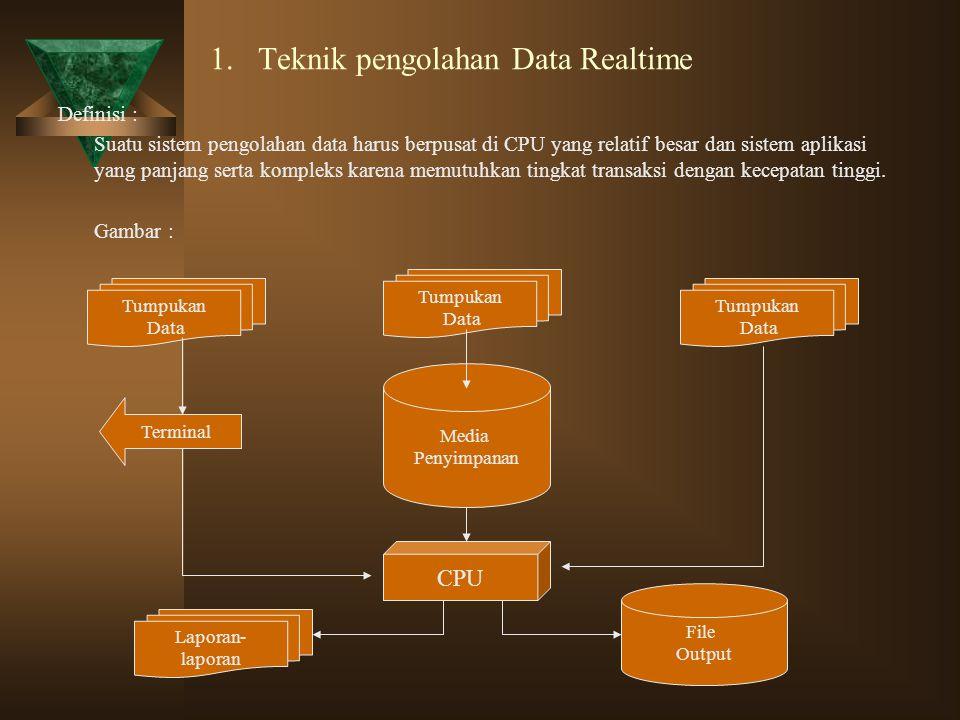 1. Teknik pengolahan Data Realtime Definisi : Suatu sistem pengolahan data harus berpusat di CPU yang relatif besar dan sistem aplikasi yang panjang s