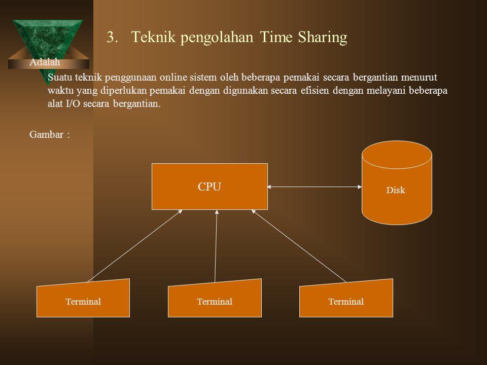 3. Teknik pengolahan Time Sharing Adalah Suatu teknik penggunaan online sistem oleh beberapa pemakai secara bergantian menurut waktu yang diperlukan p