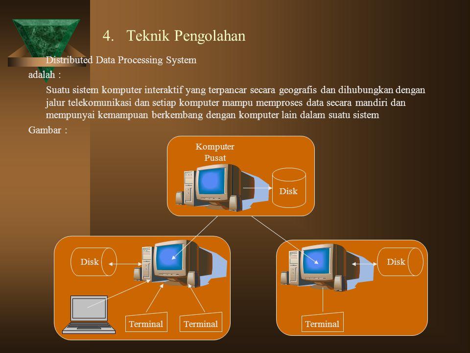 4. Teknik Pengolahan Distributed Data Processing System adalah : Suatu sistem komputer interaktif yang terpancar secara geografis dan dihubungkan deng