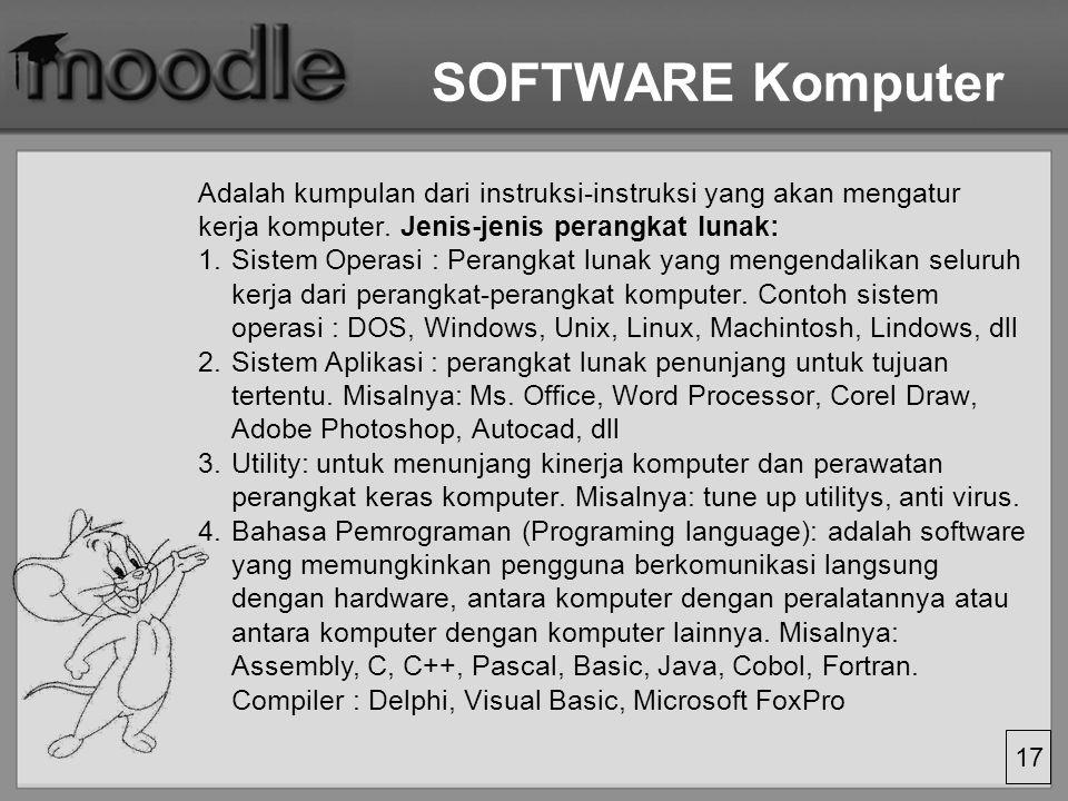 17 SOFTWARE Komputer Adalah kumpulan dari instruksi-instruksi yang akan mengatur kerja komputer.
