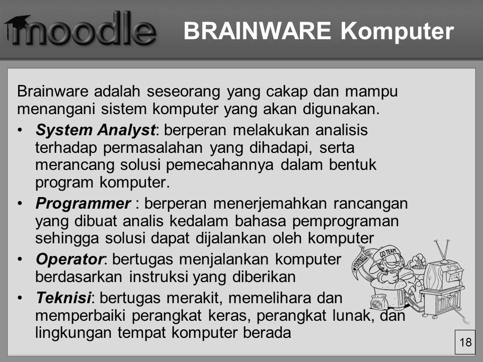 18 BRAINWARE Komputer Brainware adalah seseorang yang cakap dan mampu menangani sistem komputer yang akan digunakan.