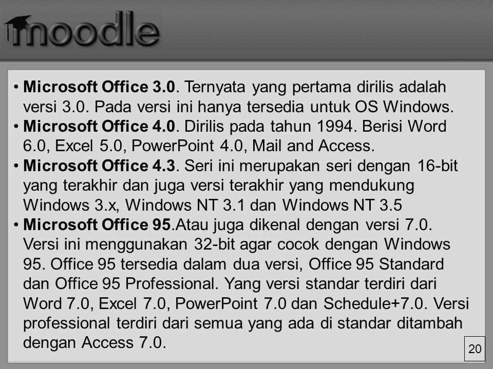 20 Microsoft Office 3.0.Ternyata yang pertama dirilis adalah versi 3.0.