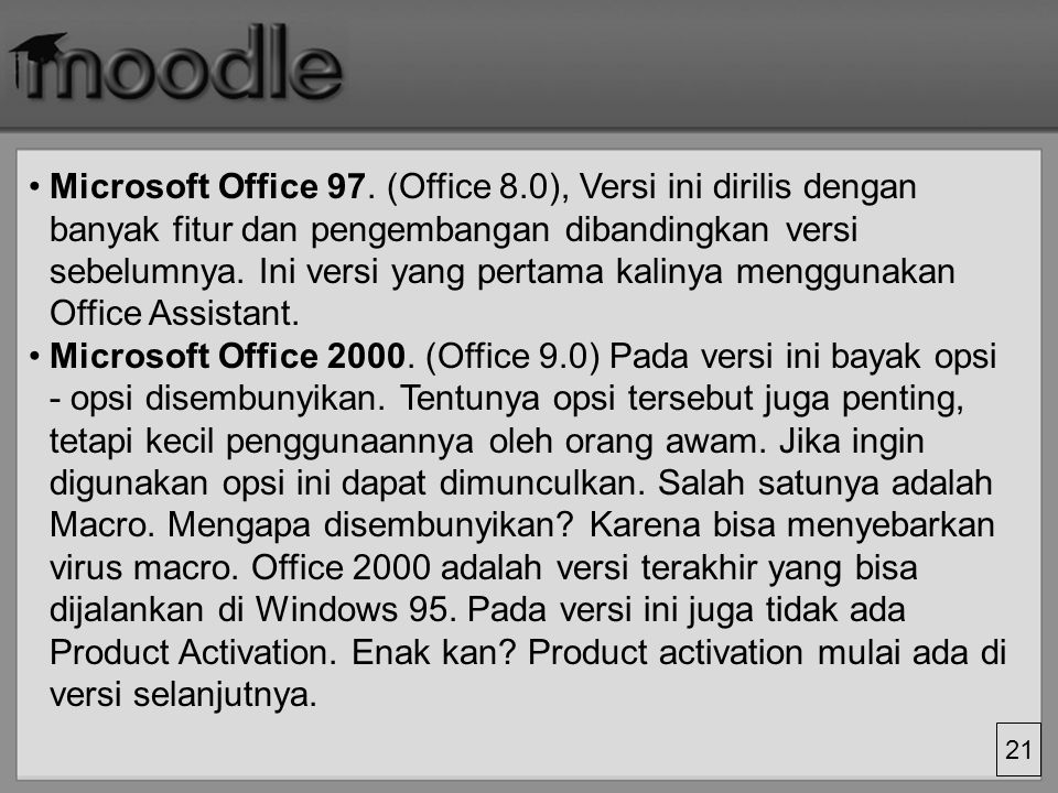21 Microsoft Office 97.