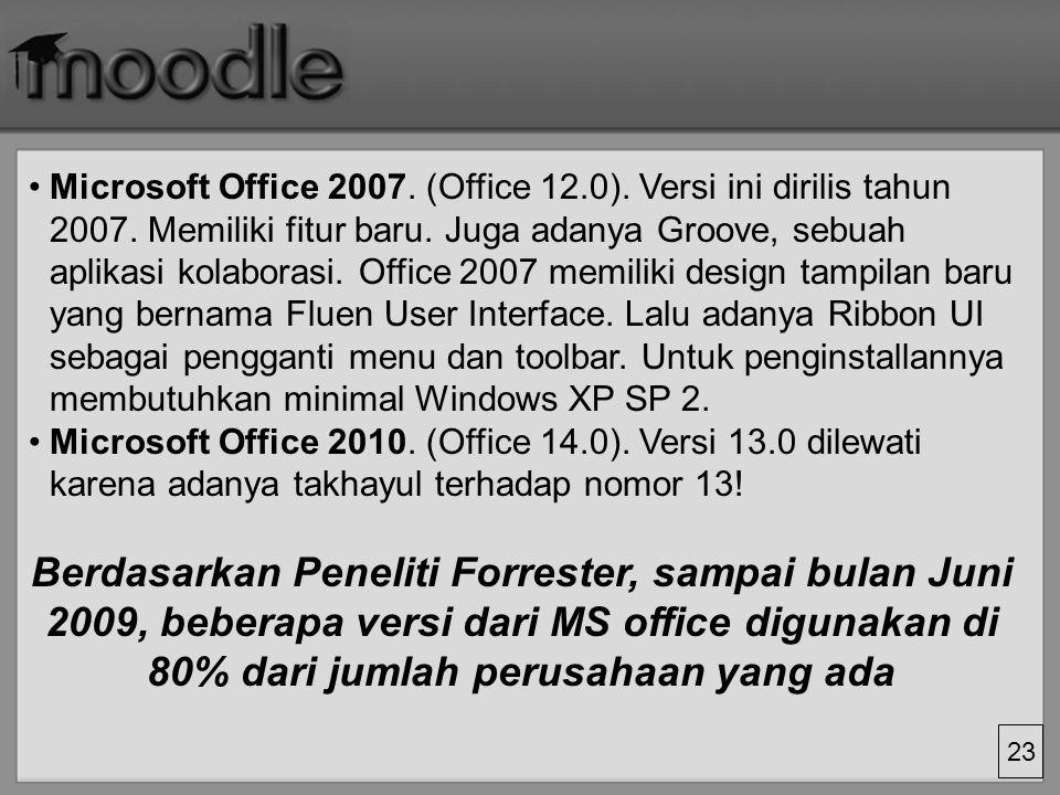 23 Microsoft Office 2007.(Office 12.0). Versi ini dirilis tahun 2007.