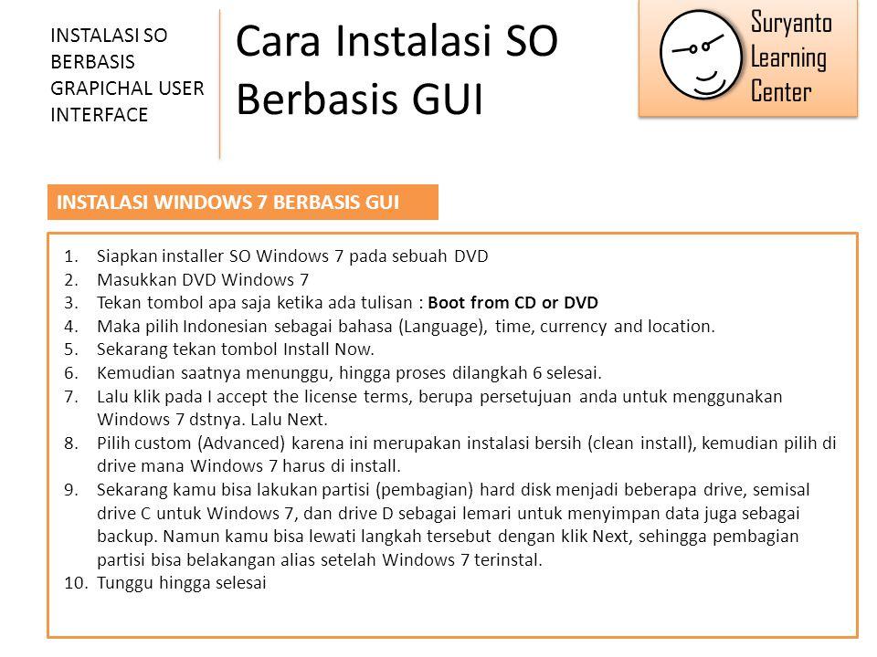 Cara Instalasi SO Berbasis GUI INSTALASI SO BERBASIS GRAPICHAL USER INTERFACE INSTALASI WINDOWS 7 BERBASIS GUI 1.Siapkan installer SO Windows 7 pada s