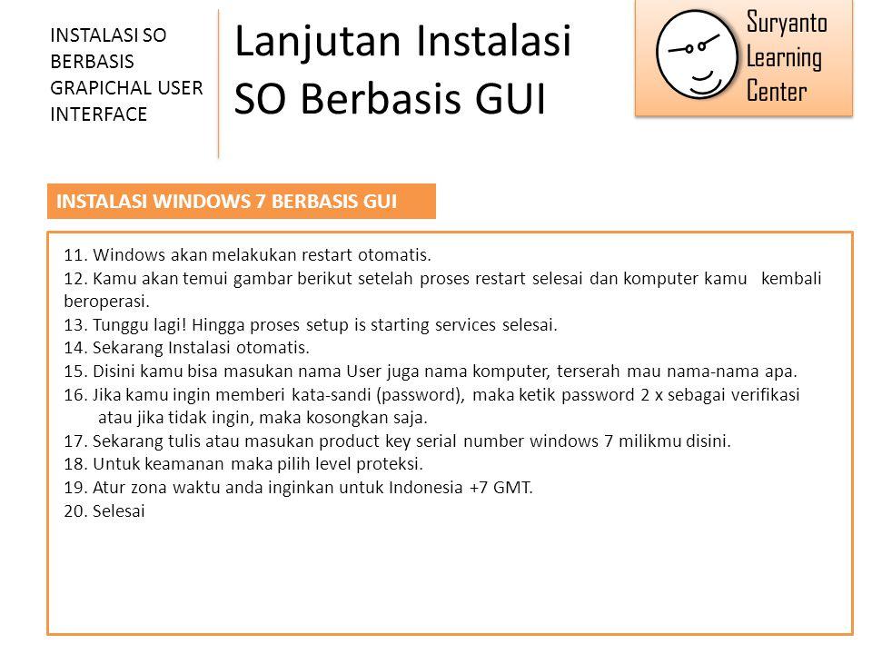 Lanjutan Instalasi SO Berbasis GUI INSTALASI SO BERBASIS GRAPICHAL USER INTERFACE INSTALASI WINDOWS 7 BERBASIS GUI 11. Windows akan melakukan restart