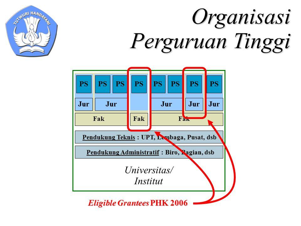 Organisasi Perguruan Tinggi Fak Jur PS Fak Jur PS Fak PS Pendukung Teknis : UPT, Lembaga, Pusat, dsb Pendukung Administratif : Biro, Bagian, dsb Universitas/ Institut Eligible Grantees PHK 2006