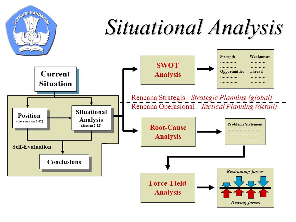Situational Analysis Current Situation Position (data section 2-12) Situational Analysis (Section 2-12) Conclusions Self-Evaluation SWOT Analysis Root-Cause Analysis Problems Statement …………………… StrengthWeaknesses ………… OpportunitiesThreats ………….