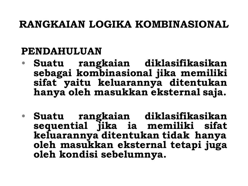 RANGKAIAN LOGIKA KOMBINASIONAL PENDAHULUAN Suatu rangkaian diklasifikasikan sebagai kombinasional jika memiliki sifat yaitu keluarannya ditentukan han
