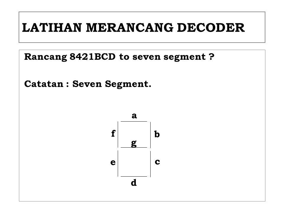 LATIHAN MERANCANG DECODER Rancang 8421BCD to seven segment ? Catatan : Seven Segment. a d g b c f e