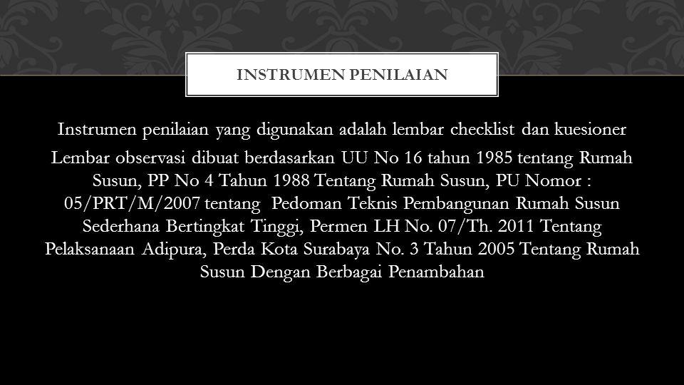 Instrumen penilaian yang digunakan adalah lembar checklist dan kuesioner Lembar observasi dibuat berdasarkan UU No 16 tahun 1985 tentang Rumah Susun,