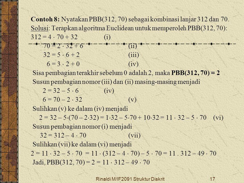 Rinaldi M/IF2091 Struktur Diskrit17 Contoh 8: Nyatakan PBB(312, 70) sebagai kombinasi lanjar 312 dan 70. Solusi: Terapkan algoritma Euclidean untuk me