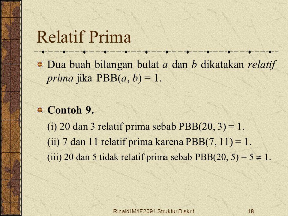 Rinaldi M/IF2091 Struktur Diskrit18 Relatif Prima Dua buah bilangan bulat a dan b dikatakan relatif prima jika PBB(a, b) = 1. Contoh 9. (i) 20 dan 3 r
