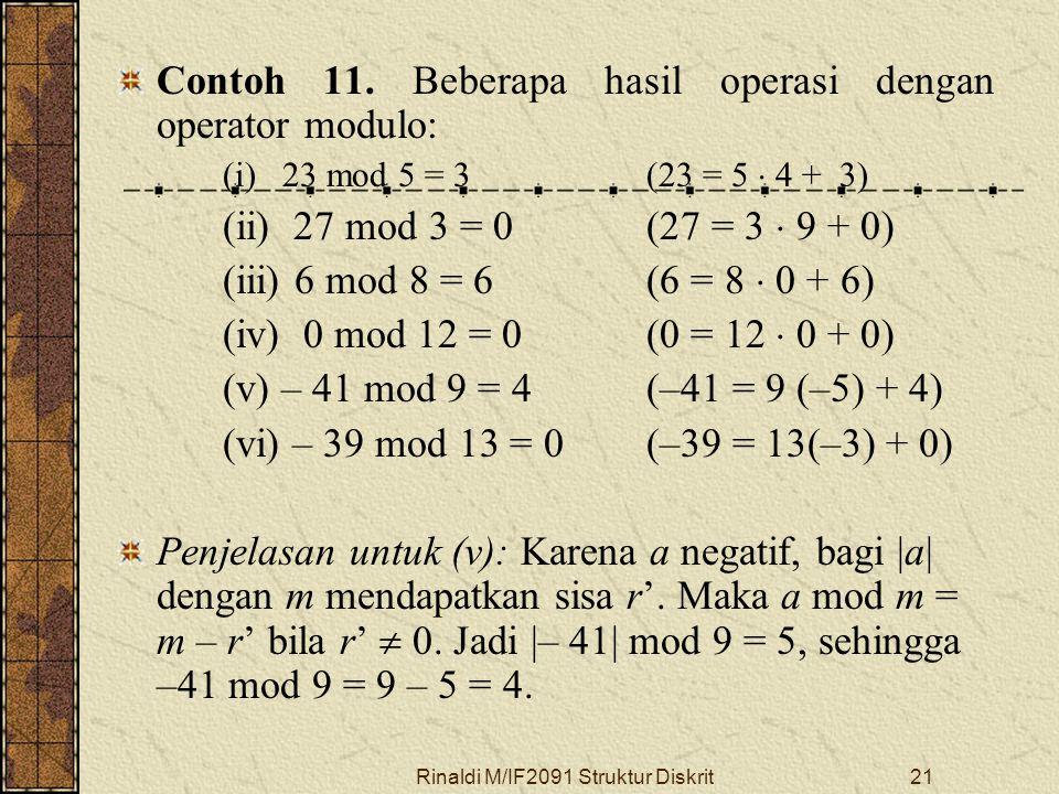 Rinaldi M/IF2091 Struktur Diskrit21 Contoh 11. Beberapa hasil operasi dengan operator modulo: (i) 23 mod 5 = 3(23 = 5  4 + 3) (ii) 27 mod 3 = 0(27 =
