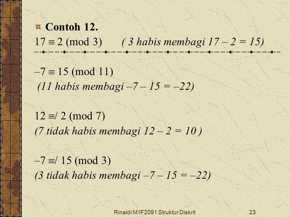 Rinaldi M/IF2091 Struktur Diskrit23 Contoh 12. 17  2 (mod 3)( 3 habis membagi 17 – 2 = 15) –7  15 (mod 11) (11 habis membagi –7 – 15 = –22) 12  / 2