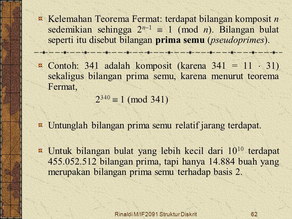 Rinaldi M/IF2091 Struktur Diskrit62 Kelemahan Teorema Fermat: terdapat bilangan komposit n sedemikian sehingga 2 n–1  1 (mod n). Bilangan bulat seper