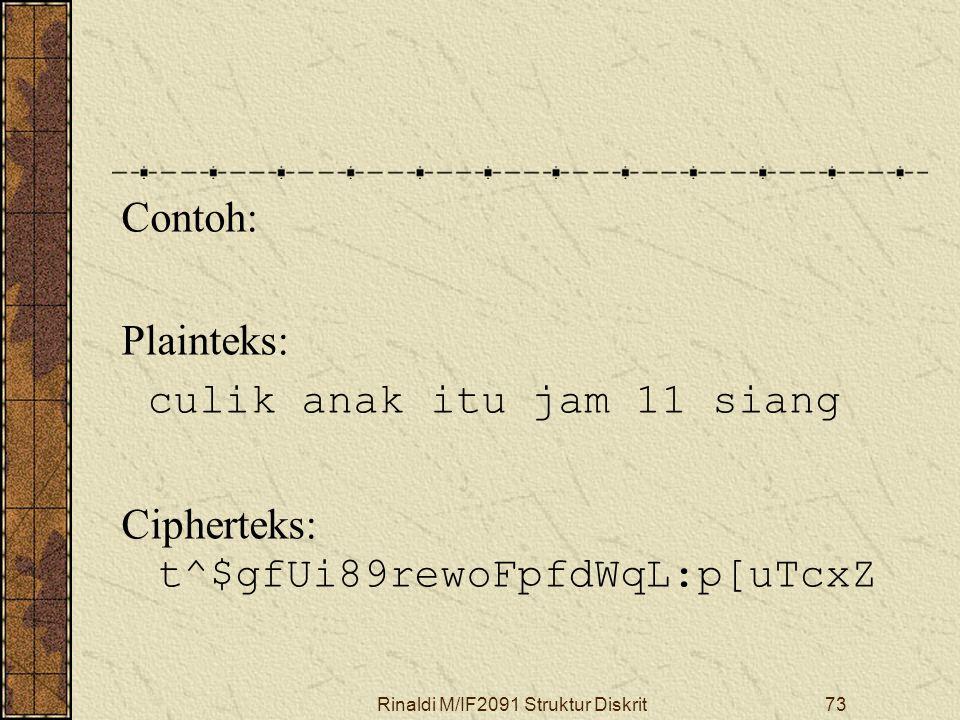 Rinaldi M/IF2091 Struktur Diskrit73 Contoh: Plainteks: culik anak itu jam 11 siang Cipherteks: t^$gfUi89rewoFpfdWqL:p[uTcxZ