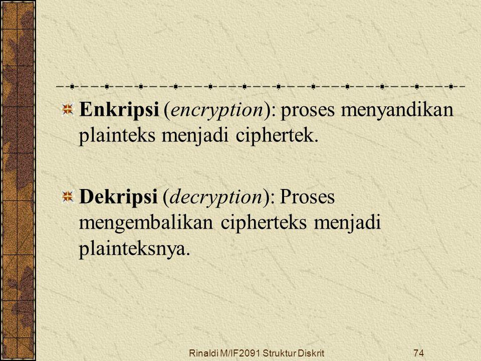 Rinaldi M/IF2091 Struktur Diskrit74 Enkripsi (encryption): proses menyandikan plainteks menjadi ciphertek. Dekripsi (decryption): Proses mengembalikan