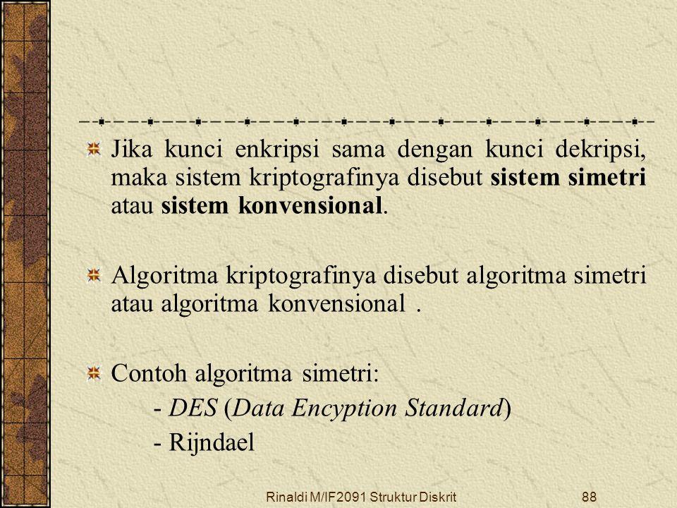 Rinaldi M/IF2091 Struktur Diskrit88 Jika kunci enkripsi sama dengan kunci dekripsi, maka sistem kriptografinya disebut sistem simetri atau sistem konv