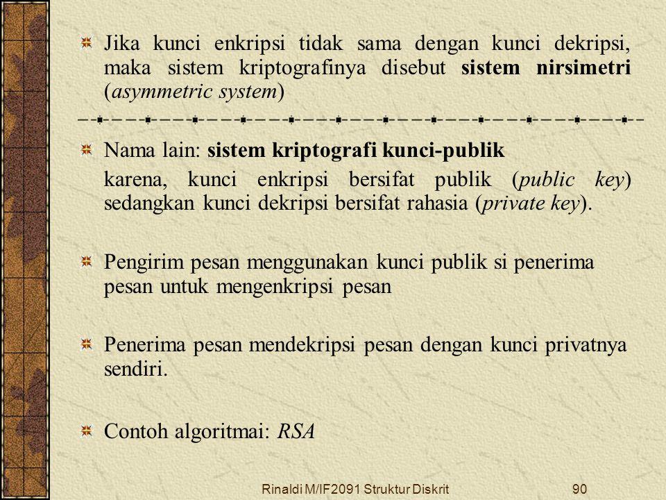 Rinaldi M/IF2091 Struktur Diskrit90 Jika kunci enkripsi tidak sama dengan kunci dekripsi, maka sistem kriptografinya disebut sistem nirsimetri (asymme