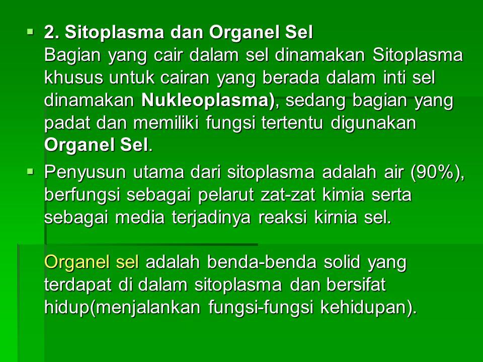  2. Sitoplasma dan Organel Sel Bagian yang cair dalam sel dinamakan Sitoplasma khusus untuk cairan yang berada dalam inti sel dinamakan Nukleoplasma)