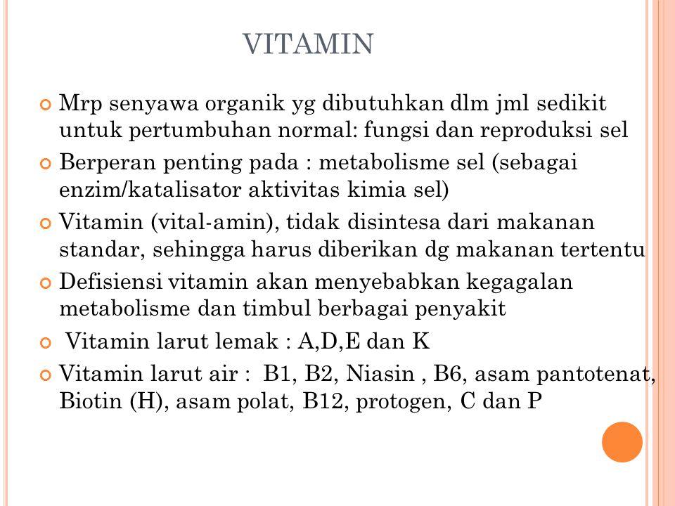 VITAMIN Mrp senyawa organik yg dibutuhkan dlm jml sedikit untuk pertumbuhan normal: fungsi dan reproduksi sel Berperan penting pada : metabolisme sel (sebagai enzim/katalisator aktivitas kimia sel) Vitamin (vital-amin), tidak disintesa dari makanan standar, sehingga harus diberikan dg makanan tertentu Defisiensi vitamin akan menyebabkan kegagalan metabolisme dan timbul berbagai penyakit Vitamin larut lemak : A,D,E dan K Vitamin larut air : B1, B2, Niasin, B6, asam pantotenat, Biotin (H), asam polat, B12, protogen, C dan P