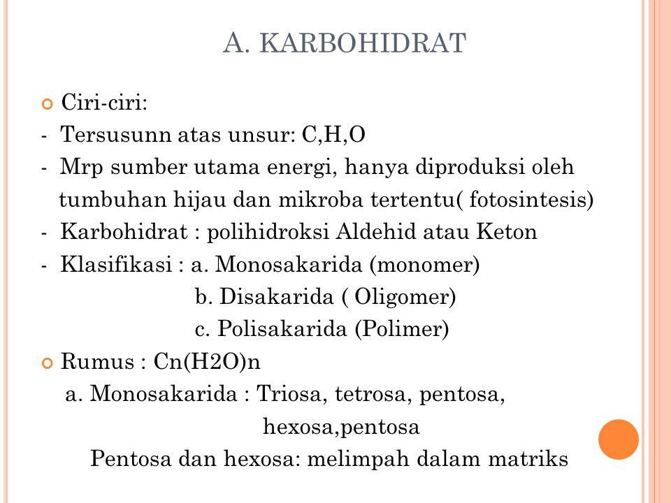A. KARBOHIDRAT Ciri-ciri: - Tersusunn atas unsur: C,H,O - Mrp sumber utama energi, hanya diproduksi oleh tumbuhan hijau dan mikroba tertentu( fotosint