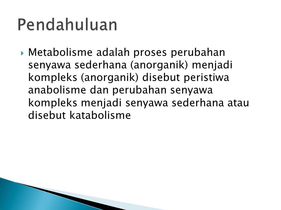 Metabolisme adalah proses perubahan senyawa sederhana (anorganik) menjadi kompleks (anorganik) disebut peristiwa anabolisme dan perubahan senyawa kompleks menjadi senyawa sederhana atau disebut katabolisme