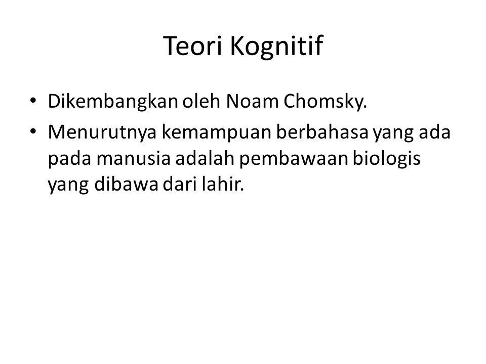 Teori Kognitif Dikembangkan oleh Noam Chomsky. Menurutnya kemampuan berbahasa yang ada pada manusia adalah pembawaan biologis yang dibawa dari lahir.