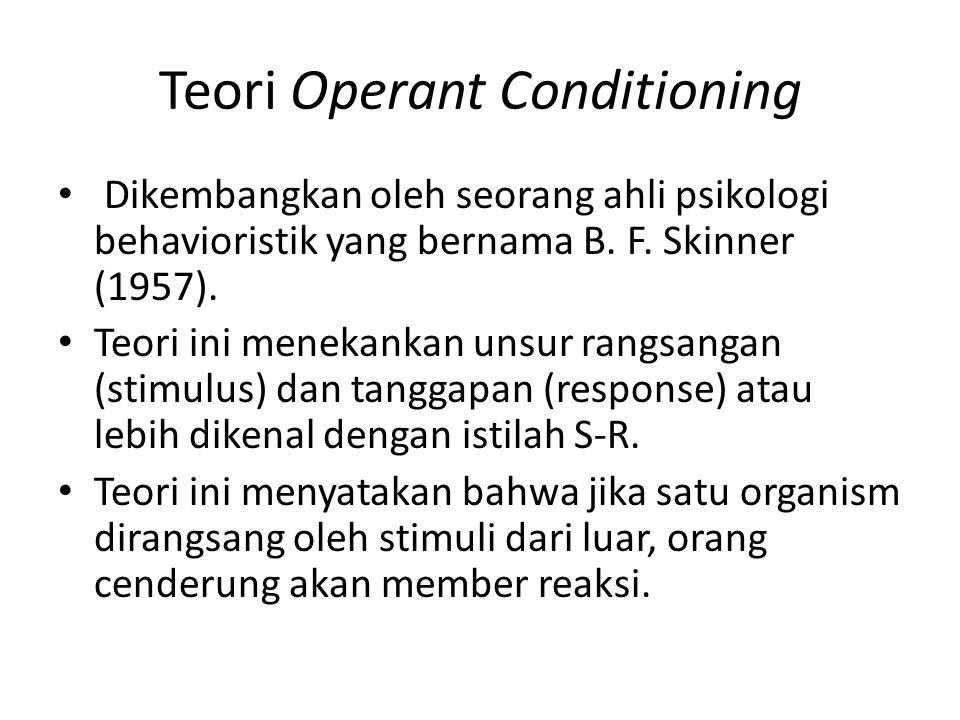Teori Operant Conditioning Dikembangkan oleh seorang ahli psikologi behavioristik yang bernama B. F. Skinner (1957). Teori ini menekankan unsur rangsa