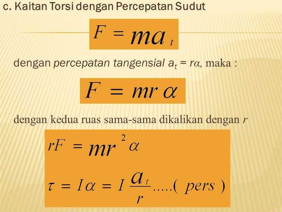 c. Kaitan Torsi dengan Percepatan Sudut dengan percepatan tangensial a t = r α, maka : dengan kedua ruas sama-sama dikalikan dengan r