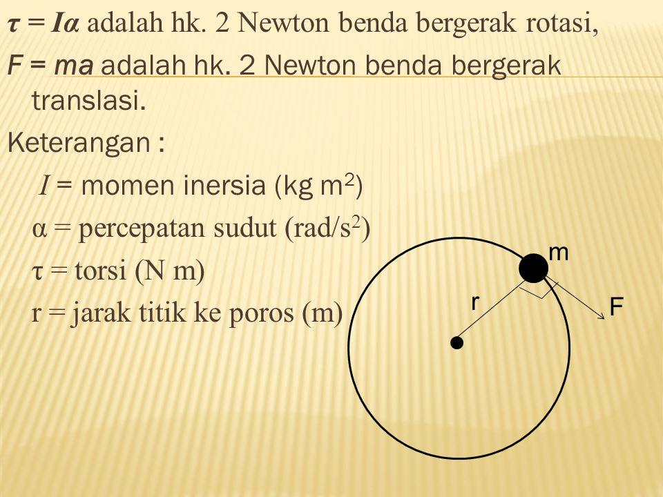 τ = Iα adalah hk. 2 Newton benda bergerak rotasi, F = ma adalah hk. 2 Newton benda bergerak translasi. Keterangan : I = momen inersia (kg m 2 ) α = pe