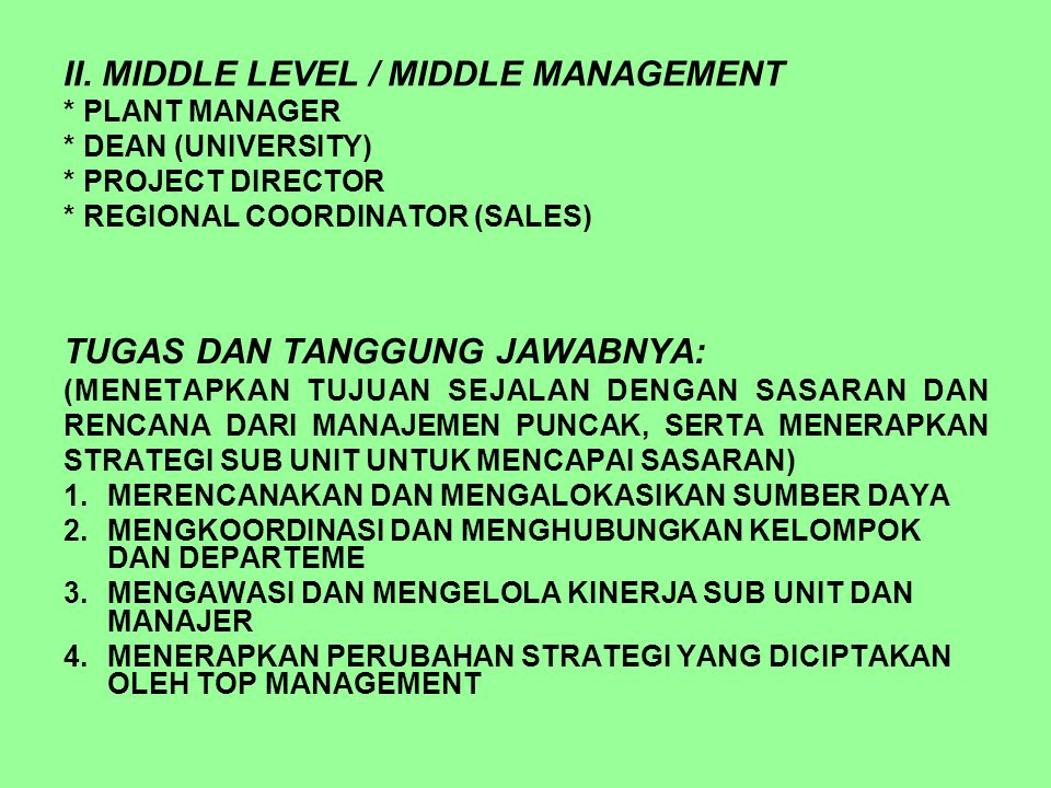 II. MIDDLE LEVEL / MIDDLE MANAGEMENT * PLANT MANAGER * DEAN (UNIVERSITY) * PROJECT DIRECTOR * REGIONAL COORDINATOR (SALES) TUGAS DAN TANGGUNG JAWABNYA