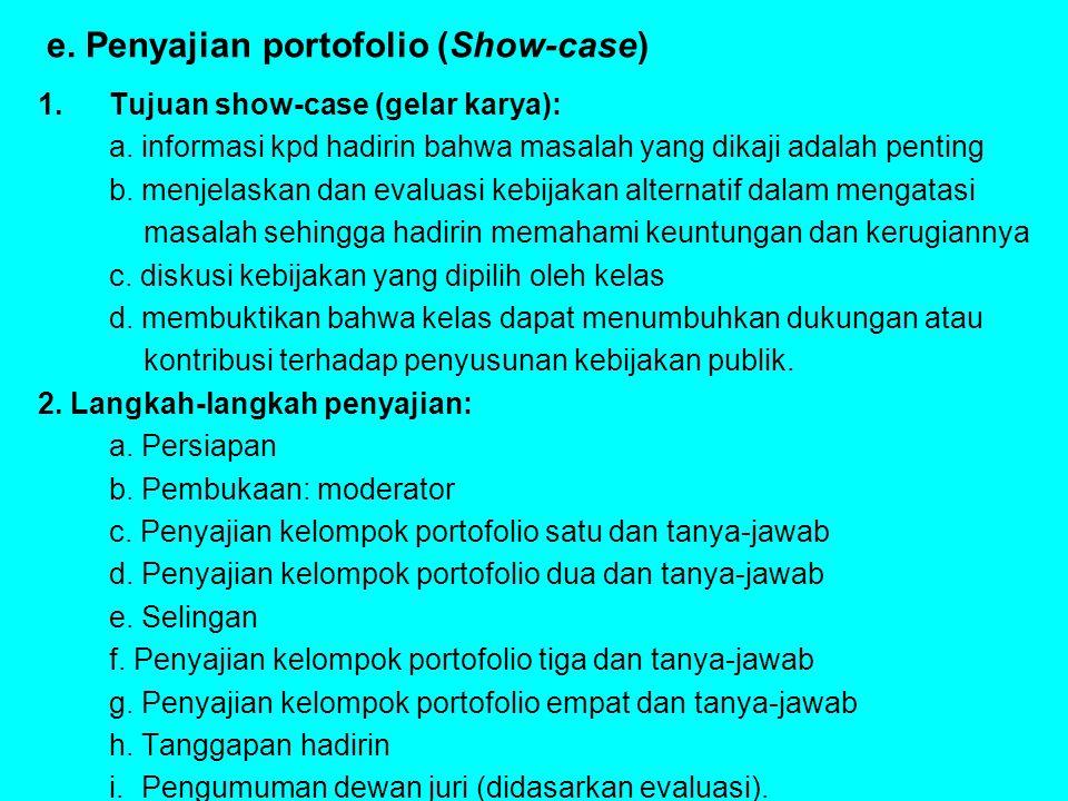 e. Penyajian portofolio (Show-case) 1.Tujuan show-case (gelar karya): a. informasi kpd hadirin bahwa masalah yang dikaji adalah penting b. menjelaskan