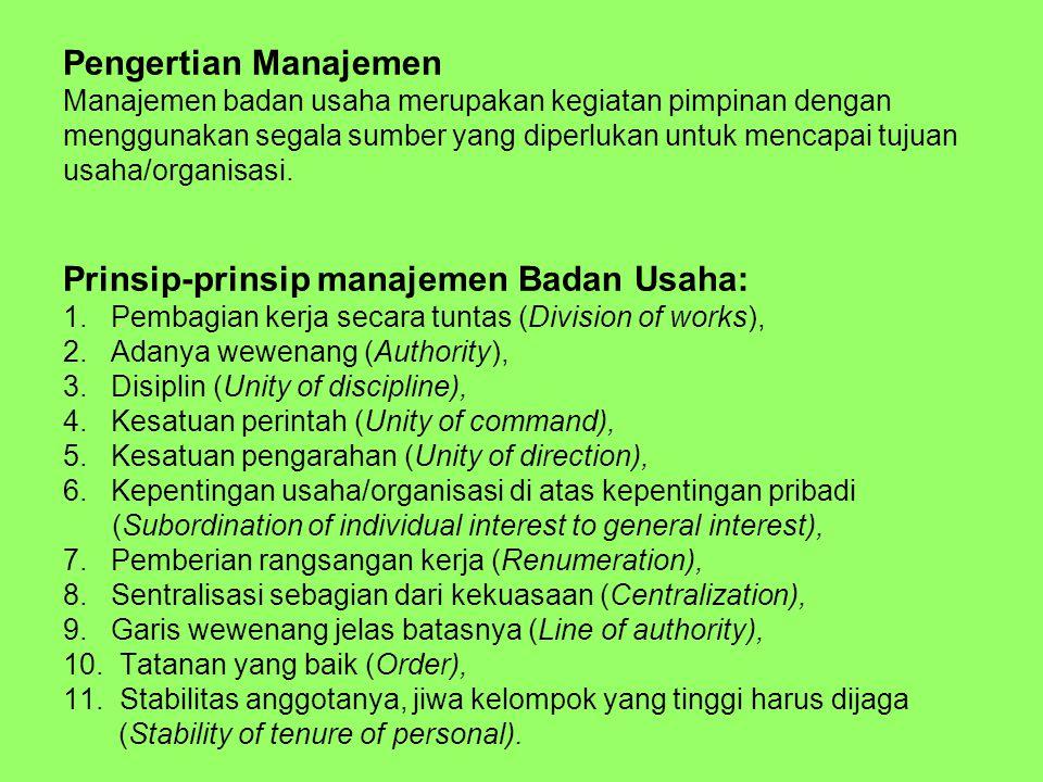 Pengertian Manajemen Manajemen badan usaha merupakan kegiatan pimpinan dengan menggunakan segala sumber yang diperlukan untuk mencapai tujuan usaha/organisasi.