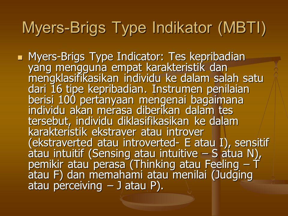 Myers-Brigs Type Indikator (MBTI) Myers-Brigs Type Indicator: Tes kepribadian yang mengguna empat karakteristik dan mengklasifikasikan individu ke dal