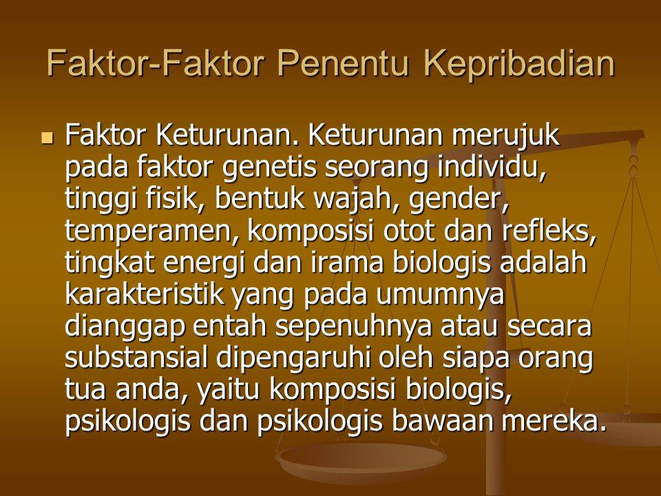 Faktor-Faktor Penentu Kepribadian Faktor Keturunan. Keturunan merujuk pada faktor genetis seorang individu, tinggi fisik, bentuk wajah, gender, temper