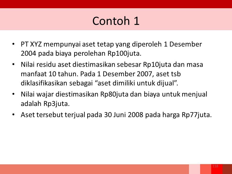 Contoh 1 118 PT XYZ mempunyai aset tetap yang diperoleh 1 Desember 2004 pada biaya perolehan Rp100juta. Nilai residu aset diestimasikan sebesar Rp10ju