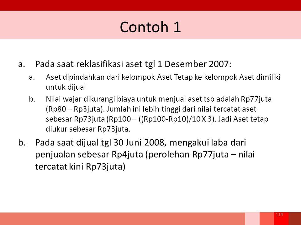 Contoh 1 119 a.Pada saat reklasifikasi aset tgl 1 Desember 2007: a.Aset dipindahkan dari kelompok Aset Tetap ke kelompok Aset dimiliki untuk dijual b.