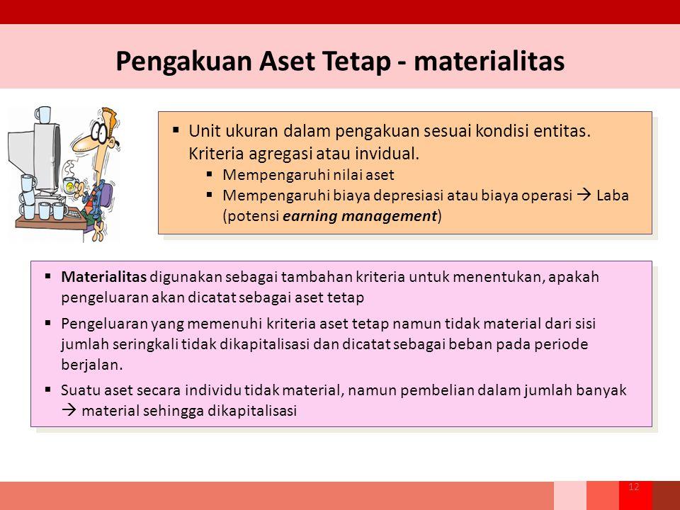 Pengakuan Aset Tetap - materialitas 12  Unit ukuran dalam pengakuan sesuai kondisi entitas. Kriteria agregasi atau invidual.  Mempengaruhi nilai ase