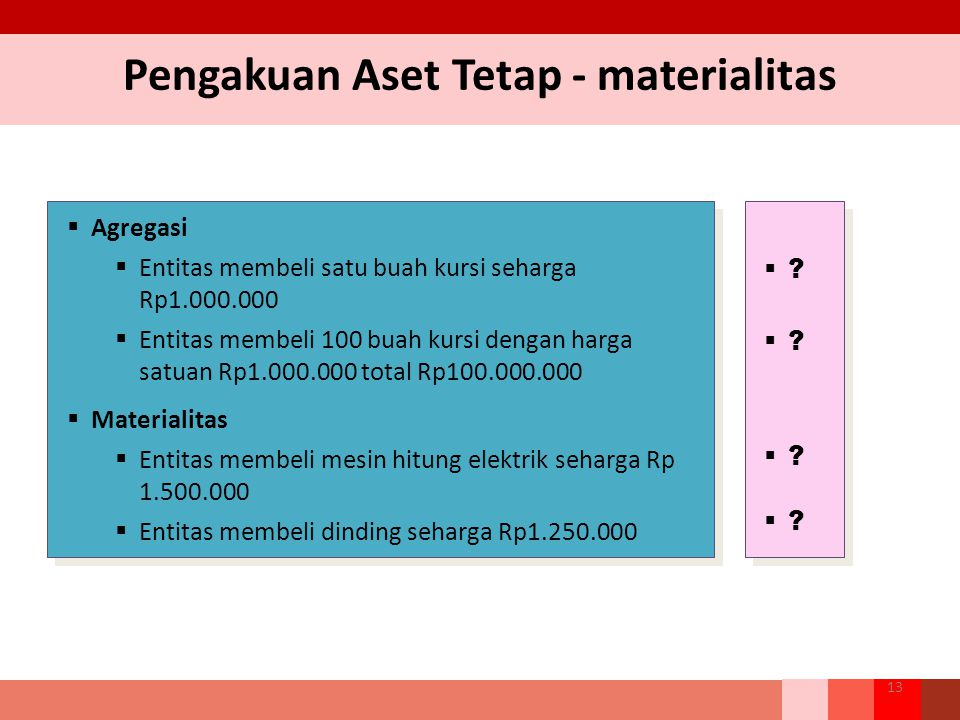 Pengakuan Aset Tetap - materialitas 13  Agregasi  Entitas membeli satu buah kursi seharga Rp1.000.000  Entitas membeli 100 buah kursi dengan harga