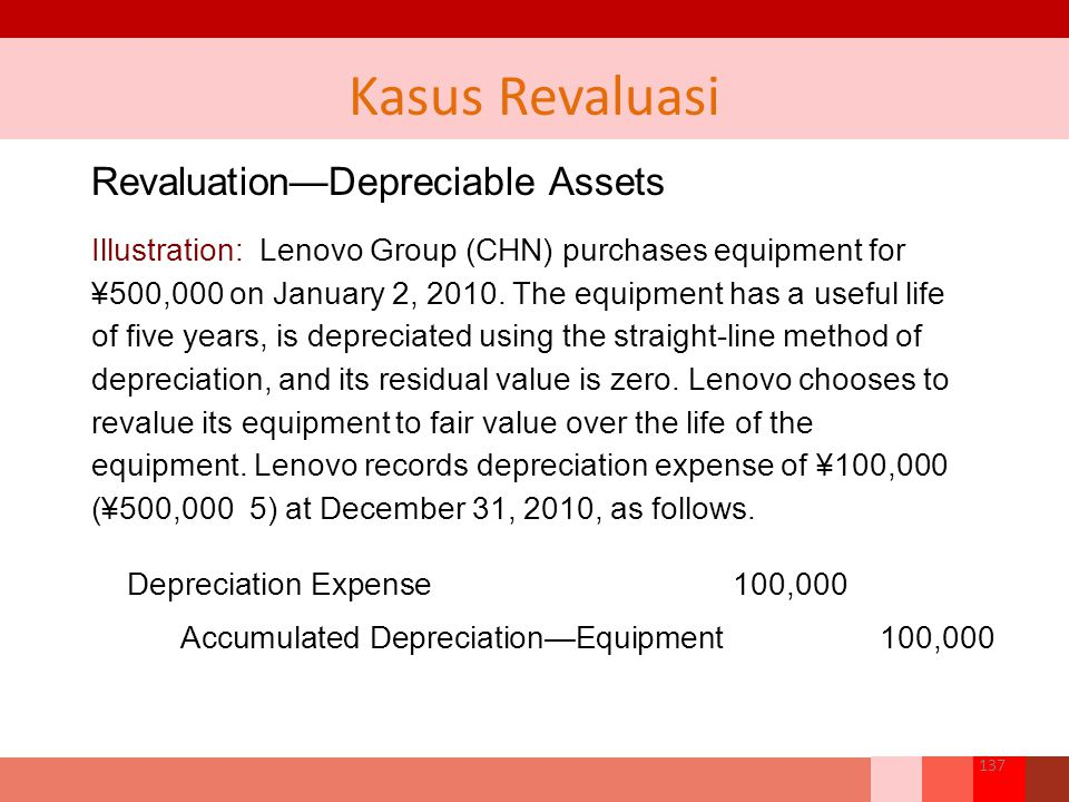 Revaluation—Depreciable Assets Illustration: Lenovo Group (CHN) purchases equipment for ¥500,000 on January 2, 2010. The equipment has a useful life o
