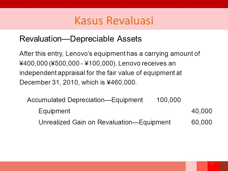 Revaluation—Depreciable Assets After this entry, Lenovo's equipment has a carrying amount of ¥400,000 (¥500,000 - ¥100,000).