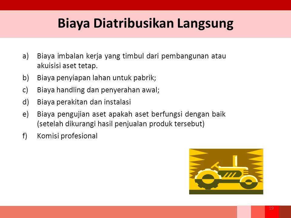 Biaya Diatribusikan Langsung a)Biaya imbalan kerja yang timbul dari pembangunan atau akuisisi aset tetap. b)Biaya penyiapan lahan untuk pabrik; c)Biay