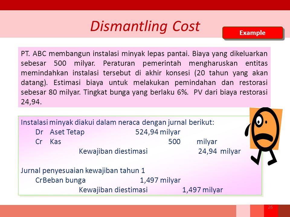 Dismantling Cost PT. ABC membangun instalasi minyak lepas pantai. Biaya yang dikeluarkan sebesar 500 milyar. Peraturan pemerintah mengharuskan entitas