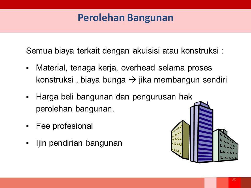 Semua biaya terkait dengan akuisisi atau konstruksi :  Material, tenaga kerja, overhead selama proses konstruksi, biaya bunga  jika membangun sendiri  Harga beli bangunan dan pengurusan hak perolehan bangunan.