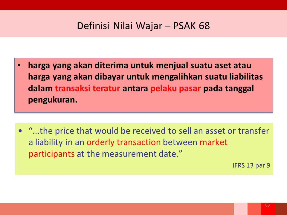 Definisi Nilai Wajar – PSAK 68 harga yang akan diterima untuk menjual suatu aset atau harga yang akan dibayar untuk mengalihkan suatu liabilitas dalam transaksi teratur antara pelaku pasar pada tanggal pengukuran.