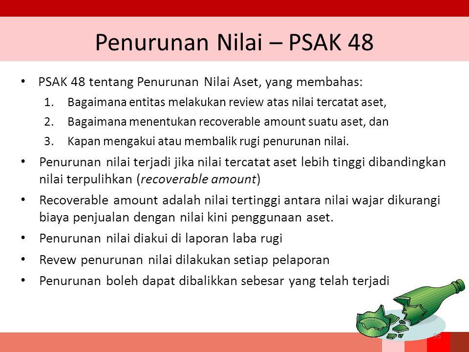 Penurunan Nilai – PSAK 48 PSAK 48 tentang Penurunan Nilai Aset, yang membahas: 1.Bagaimana entitas melakukan review atas nilai tercatat aset, 2.Bagaim